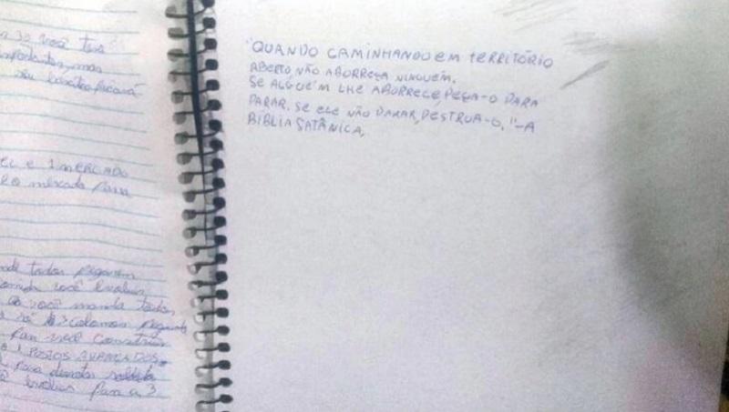 Cuaderno del autor de masacre de Suzano tenía cita de Biblia satánica